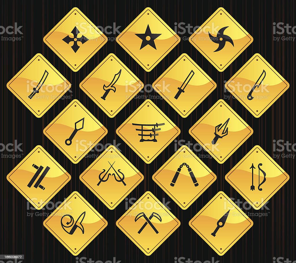 Yellow Road Signs - Japanese Ninja Weapons royalty-free stock vector art
