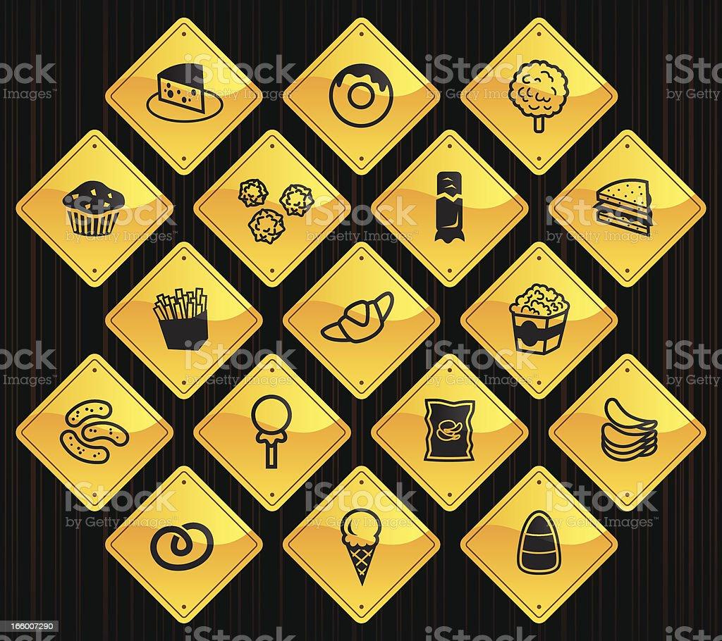 Yellow Road Signs - Junk Food royalty-free stock vector art