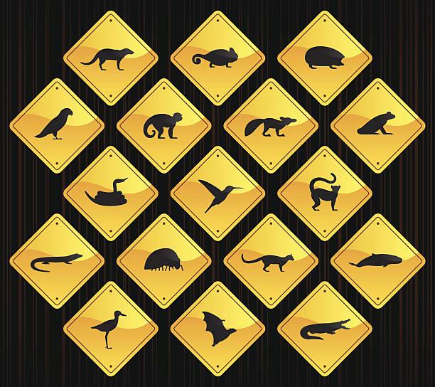 gelbe straße zeichen-vanille tiere - megabat stock-grafiken, -clipart, -cartoons und -symbole