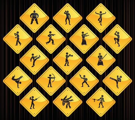 Yellow Road Signs - Martial Arts
