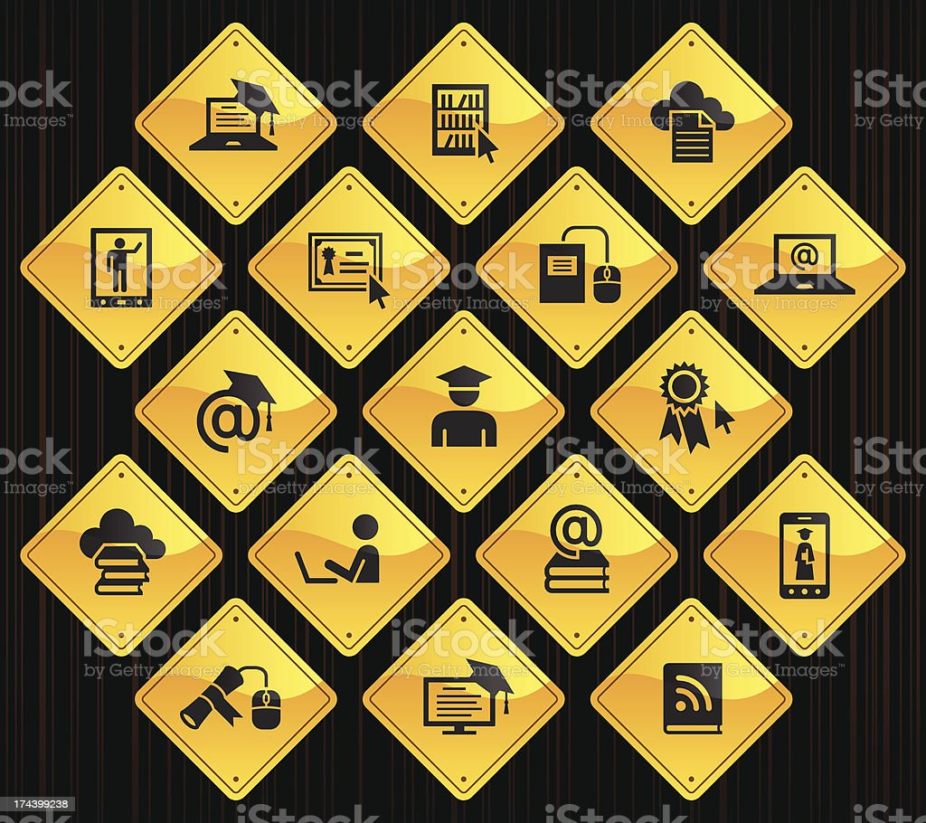 Yellow Road Signs - Online Education royalty-free stock vector art