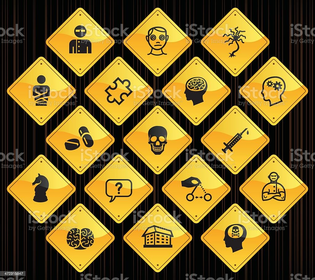 Yellow Road Signs - Psychology & Psychiatry royalty-free stock vector art