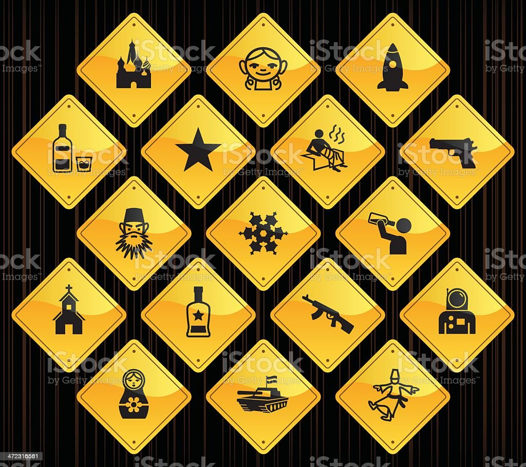 Yellow Road Signs - Russia royalty-free stock vector art