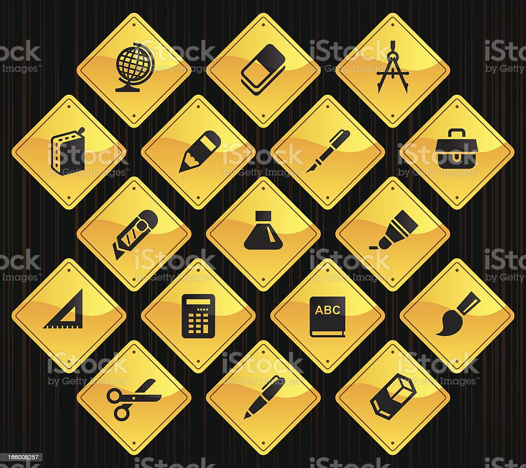 Yellow Road Signs - School Supplies royalty-free yellow road signs school supplies stock vector art & more images of alphabet