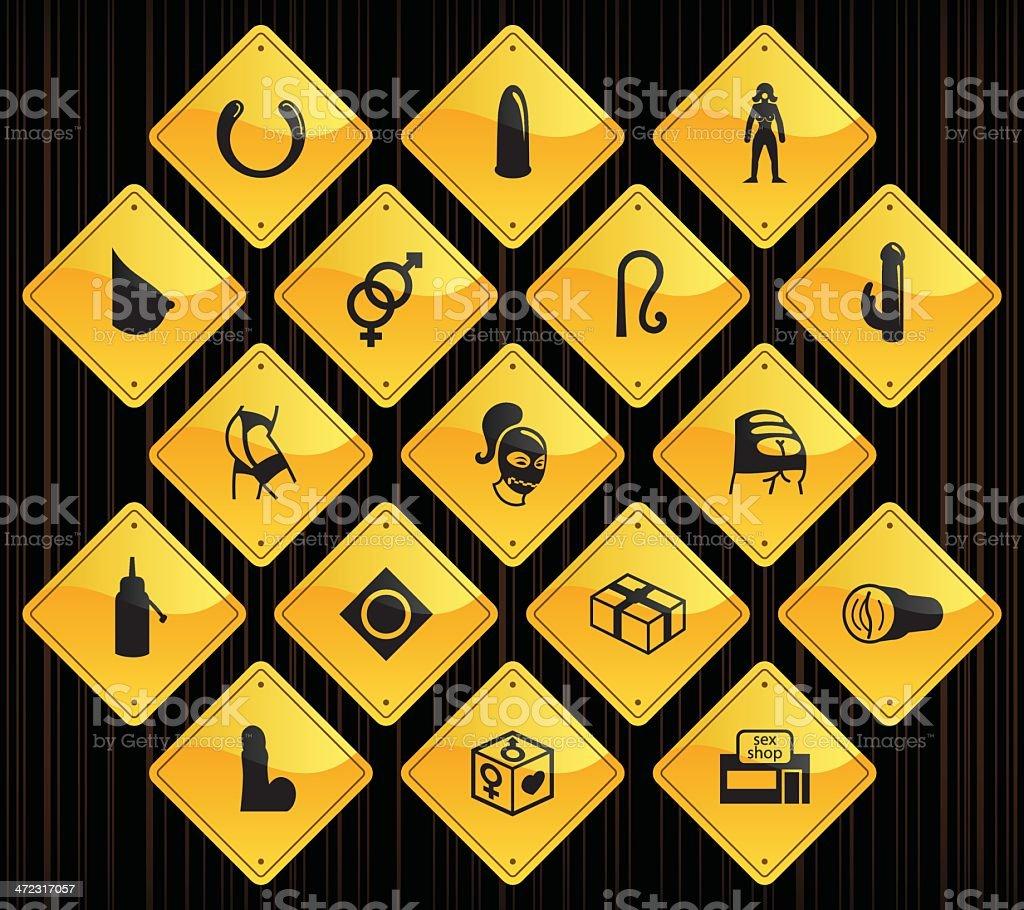 Yellow Road Signs - Sex Shop vector art illustration