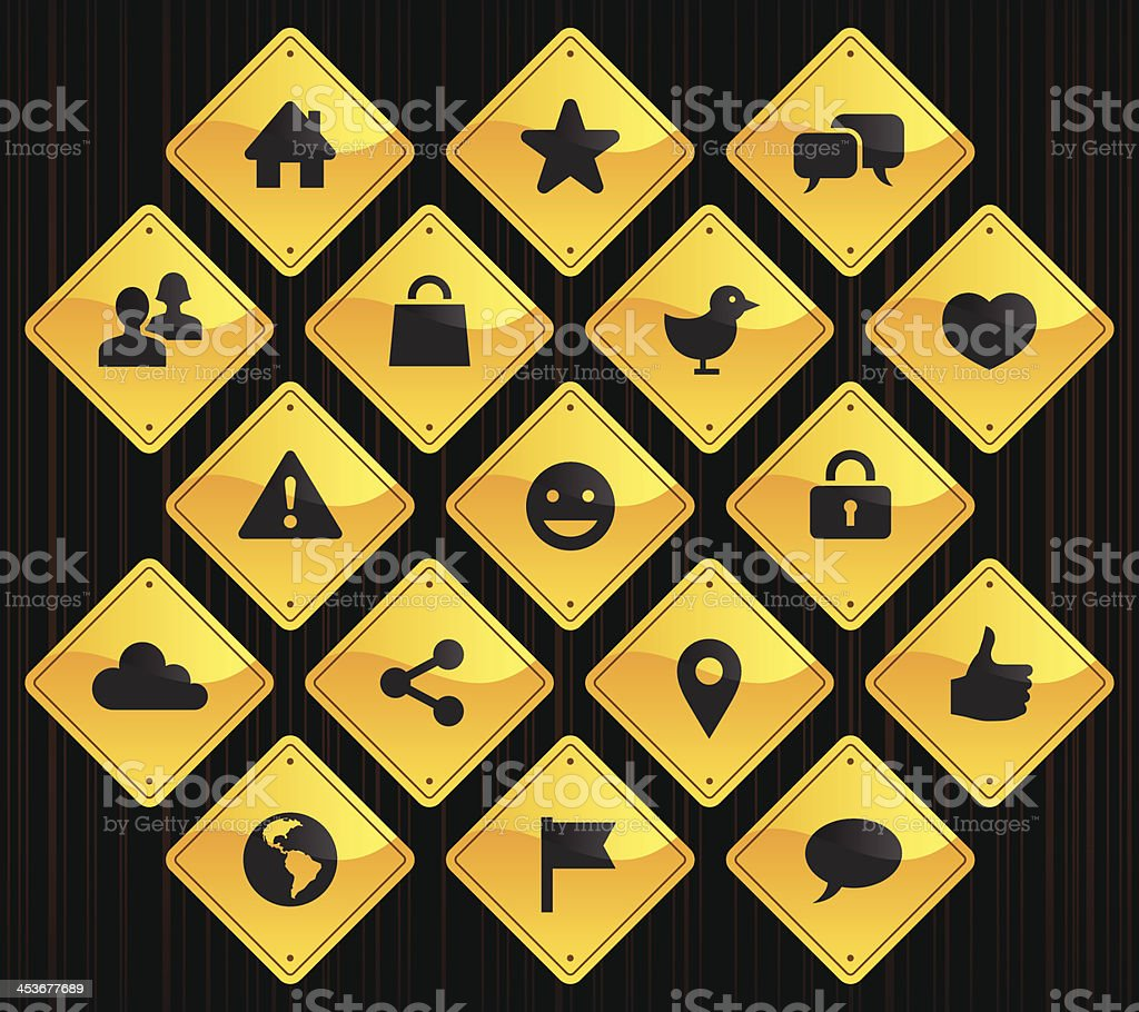 Yellow Road Signs - Social Network royalty-free yellow road signs social network stock vector art & more images of anthropomorphic smiley face