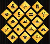 17 road sign icons representing different tailor related symbols.