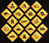17 road sign icons representing different tourism related symbols.