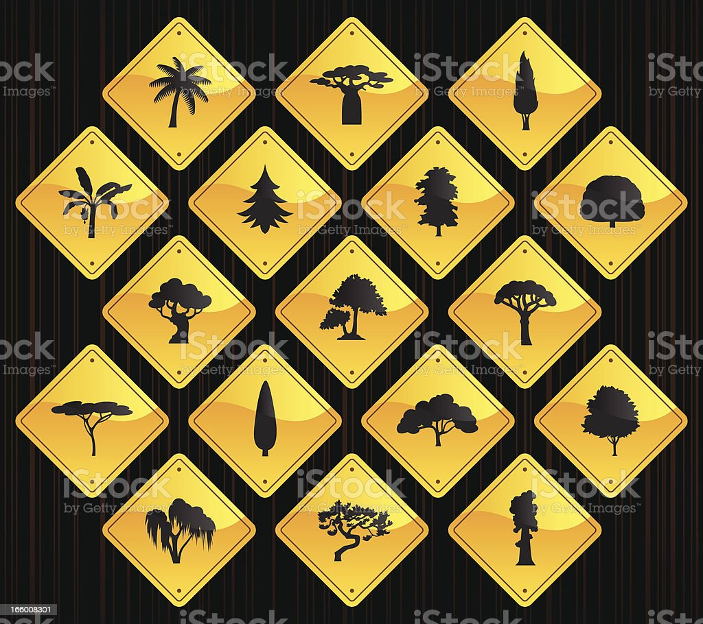 Yellow Road Signs - Trees royalty-free stock vector art