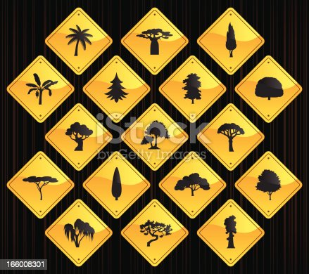 17 road sign icons representing different trees.