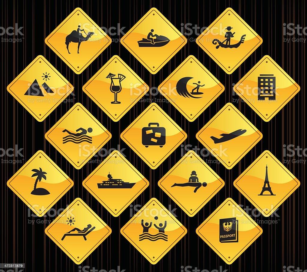 Yellow Road Signs - Vacation royalty-free stock vector art