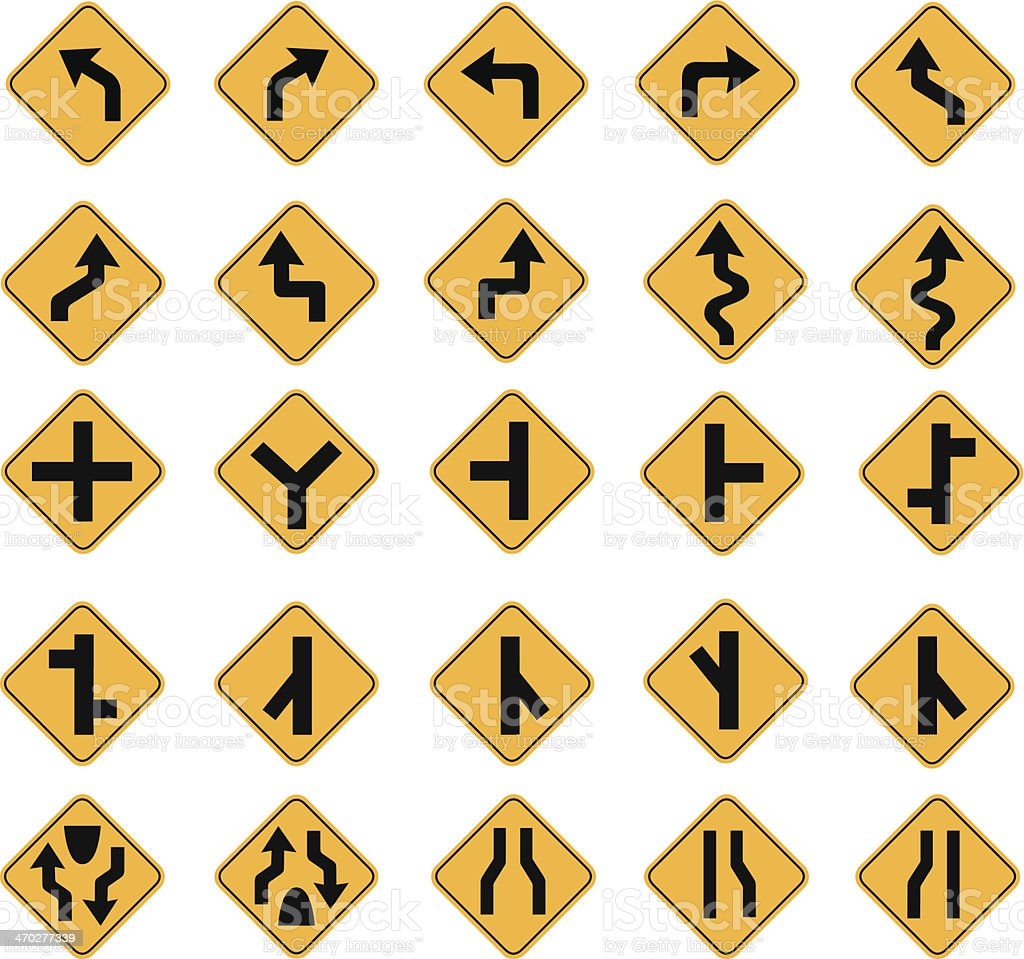 yellow road signs vector art illustration