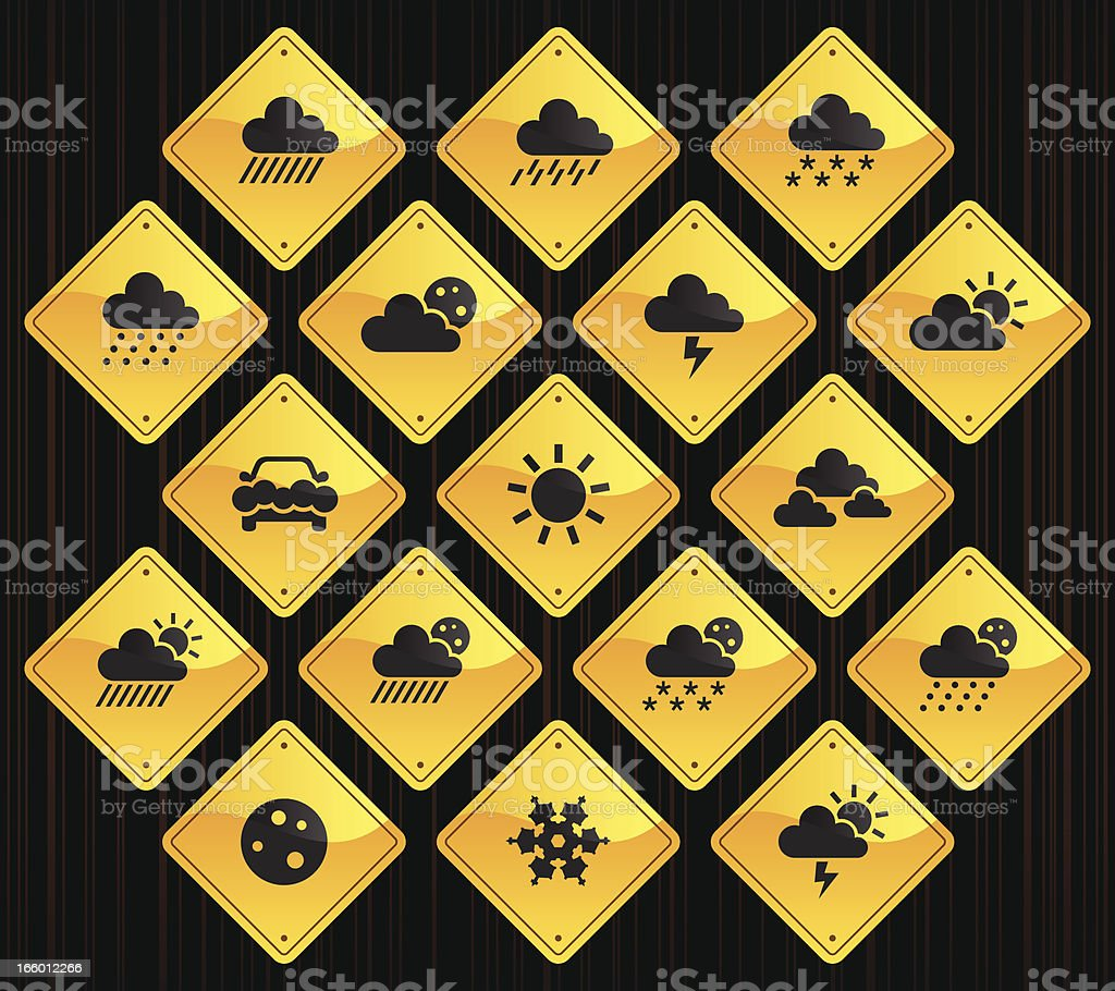 Yellow Road Signs - Weather vector art illustration