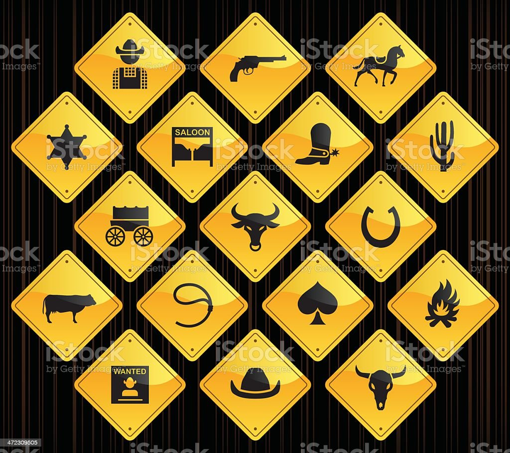 Yellow Road Signs - Wild West & Cowboys royalty-free stock vector art