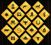 17 road sign icons representing different bowling related symbols.