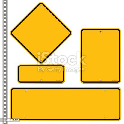 Blank signs in various shapes isolated on white background. EPS version 10 with transparency included in download.