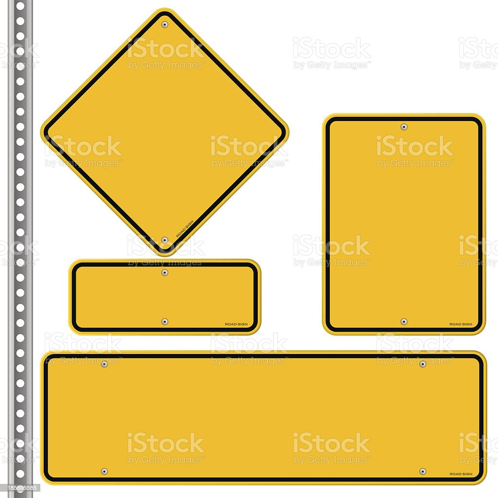 Yellow Roadsigns Set vector art illustration
