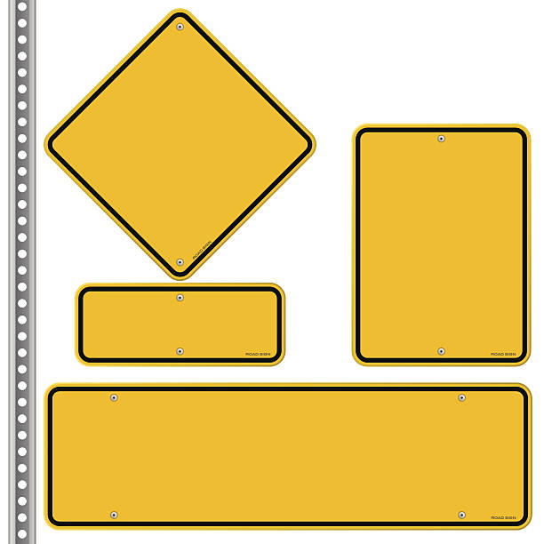yellow roadsigns set - yellow stock illustrations