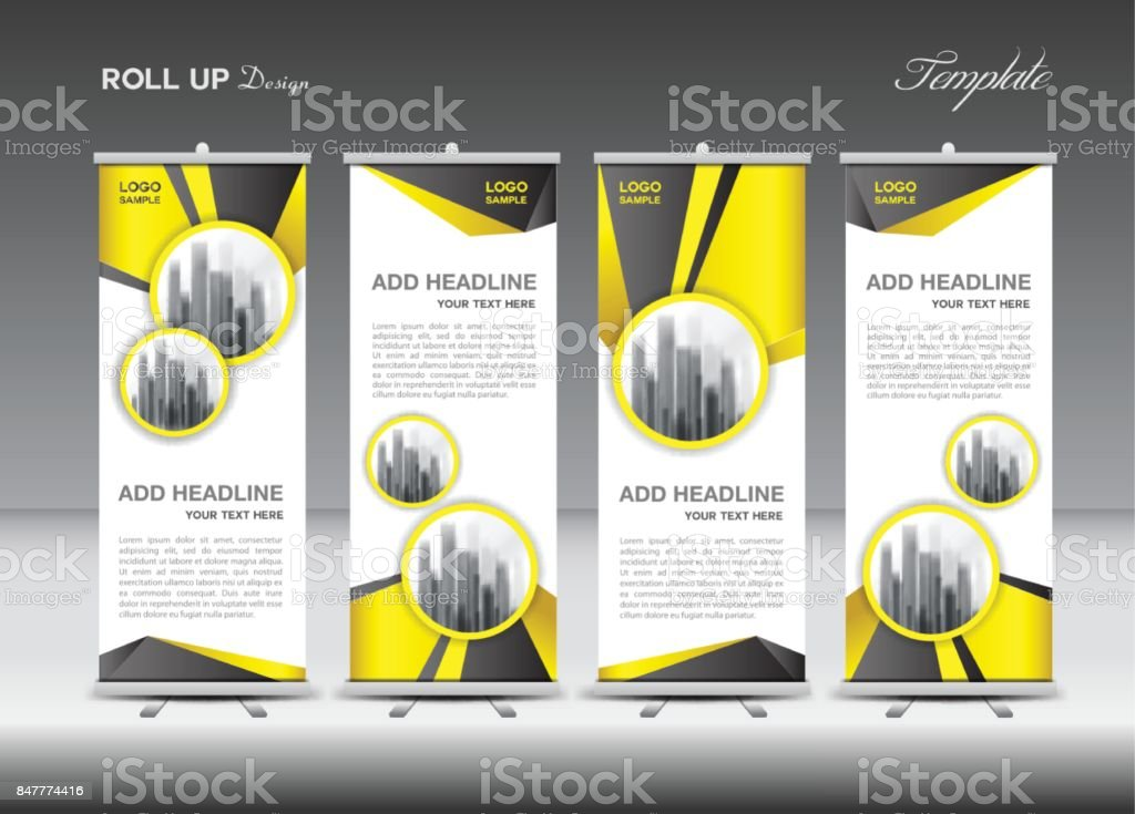 Yellow Roll up banner template vector, flyer, advertisement, x-banner, poster, pull up design, display, layout vector illustration vector art illustration