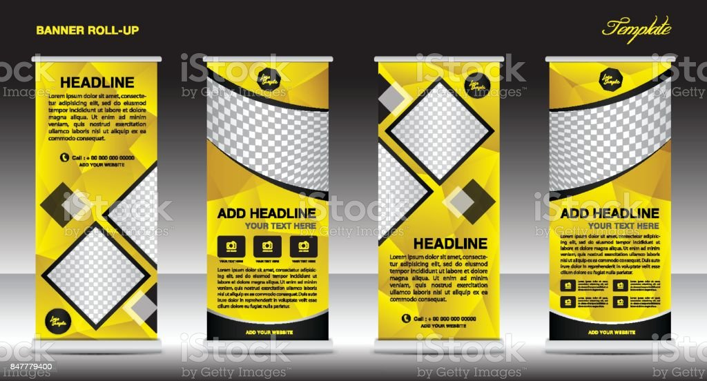 Yellow Roll Up Banner Template Vector Flyer Advertisement Xbanner Poster Pull Up Design Display Layout Vector Illustration Stock Illustration