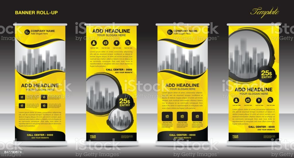 yellow roll up banner template vector flyer advertisement xbanner poster pull up design display. Black Bedroom Furniture Sets. Home Design Ideas