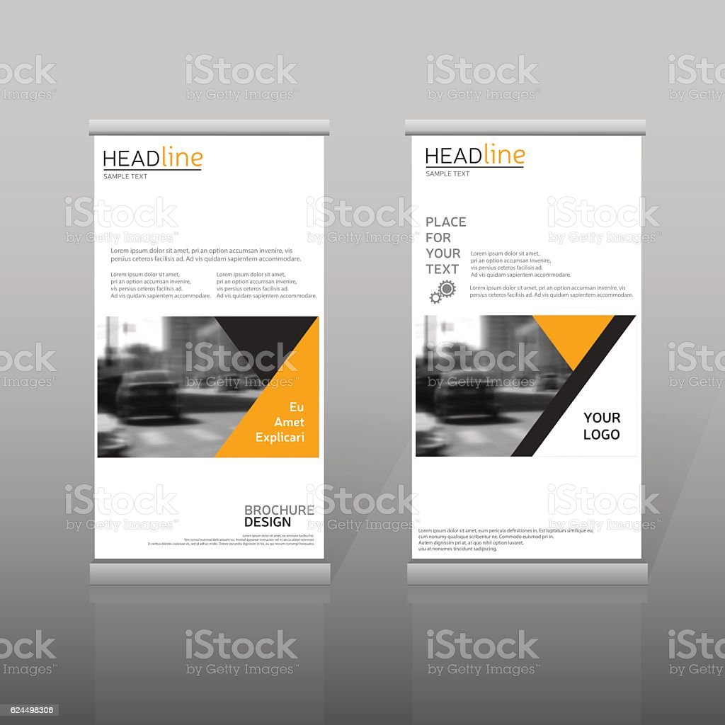 yellow roll up business brochure template vertical banner design の