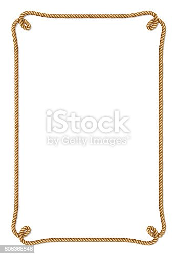 istock Yellow rope woven vector border with rope knots 808368846