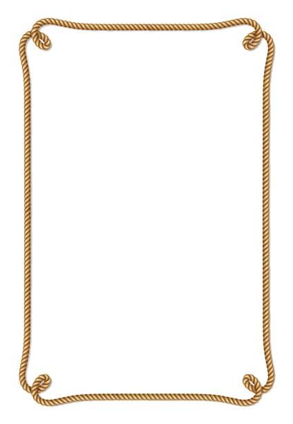 stockillustraties, clipart, cartoons en iconen met gele touw geweven vector grens met touw knopen - touw