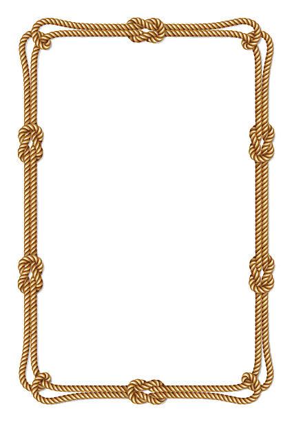 stockillustraties, clipart, cartoons en iconen met yellow rope woven vector border with rope knots, vertical vector frame - touw