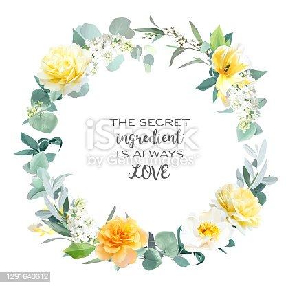 istock Yellow rose, peony, white lilac, tulip, spring garden flowers, mint eucalyptus 1291640612