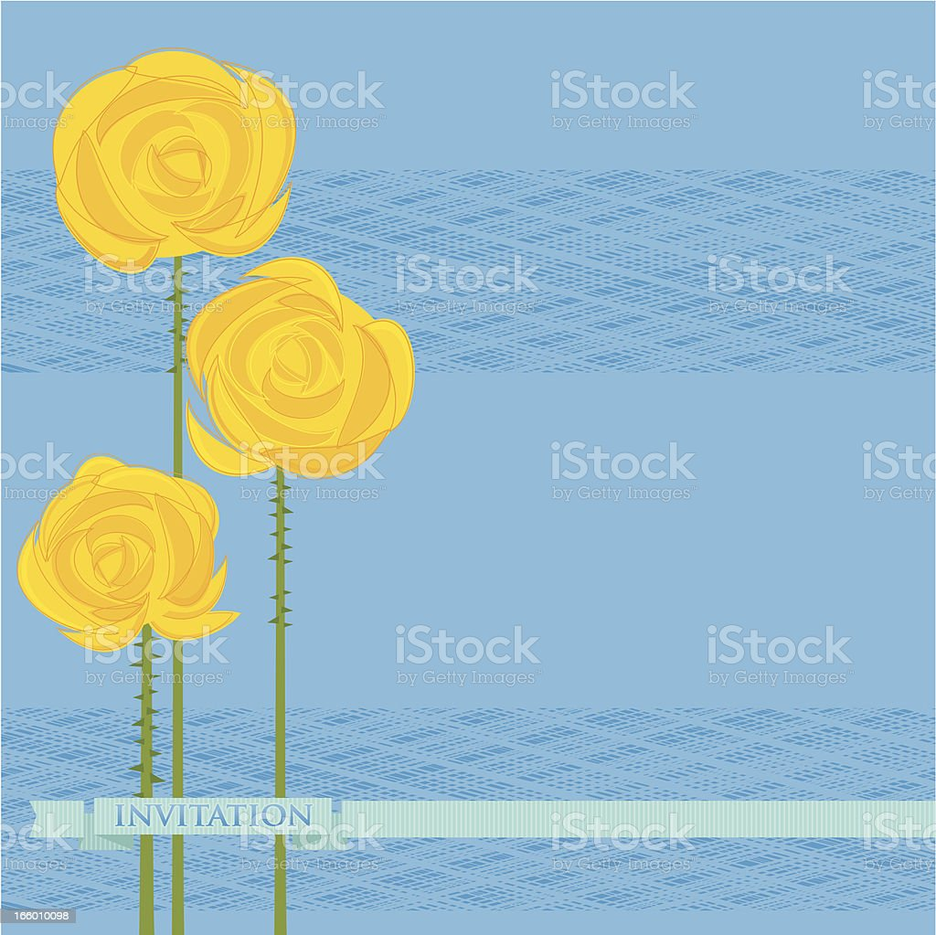 Yellow Roses on Blue (Invitation) royalty-free yellow roses on blue stock vector art & more images of abstract