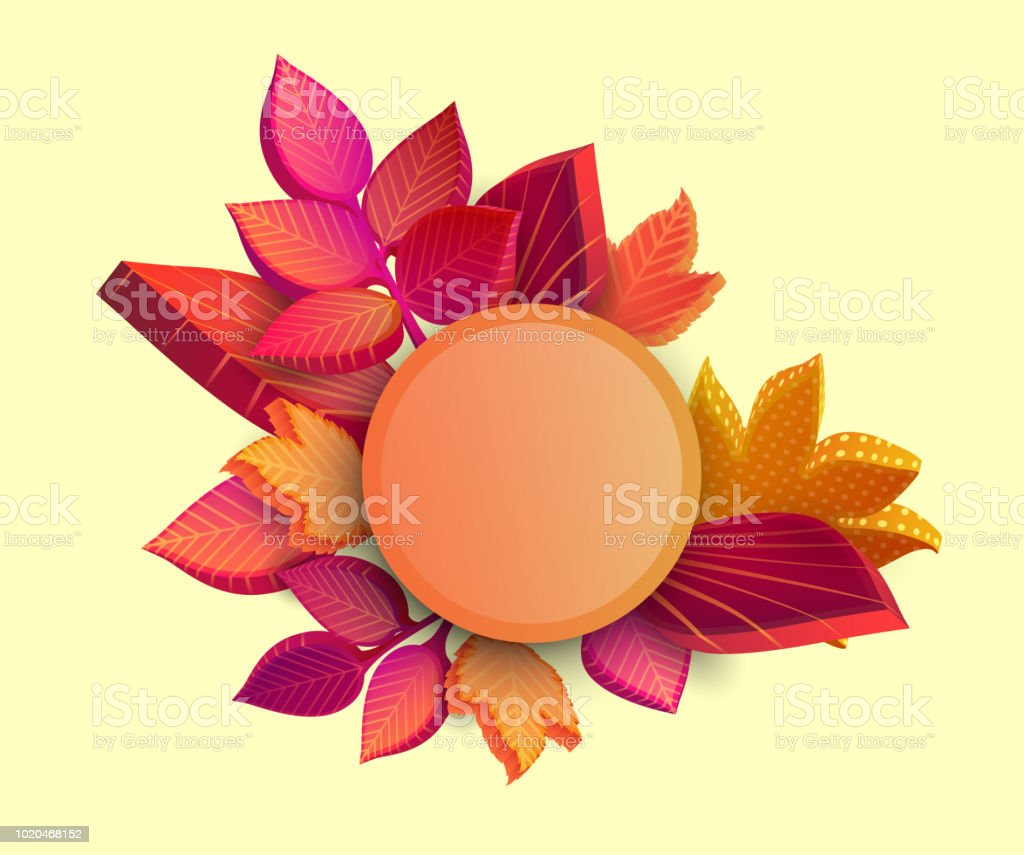 Yellow Round Autumn Background With 3d Leaves Stock Vector Art