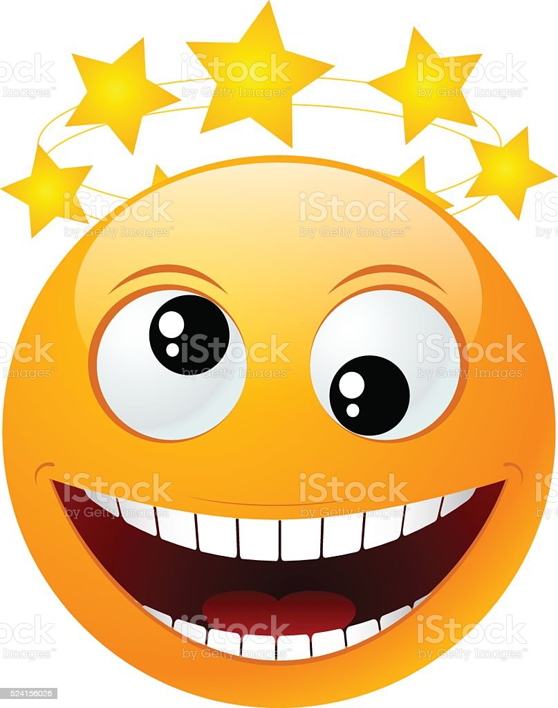 yellow round emoticon vector art illustration