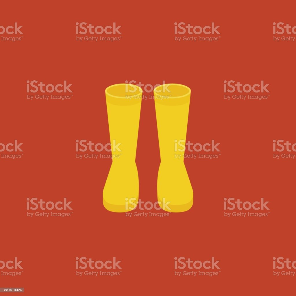 yellow rubber boots, flat design icon vector for rainy season or worker vector art illustration