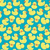 Yellow rubber duck and bubbles seamless kid's pattern