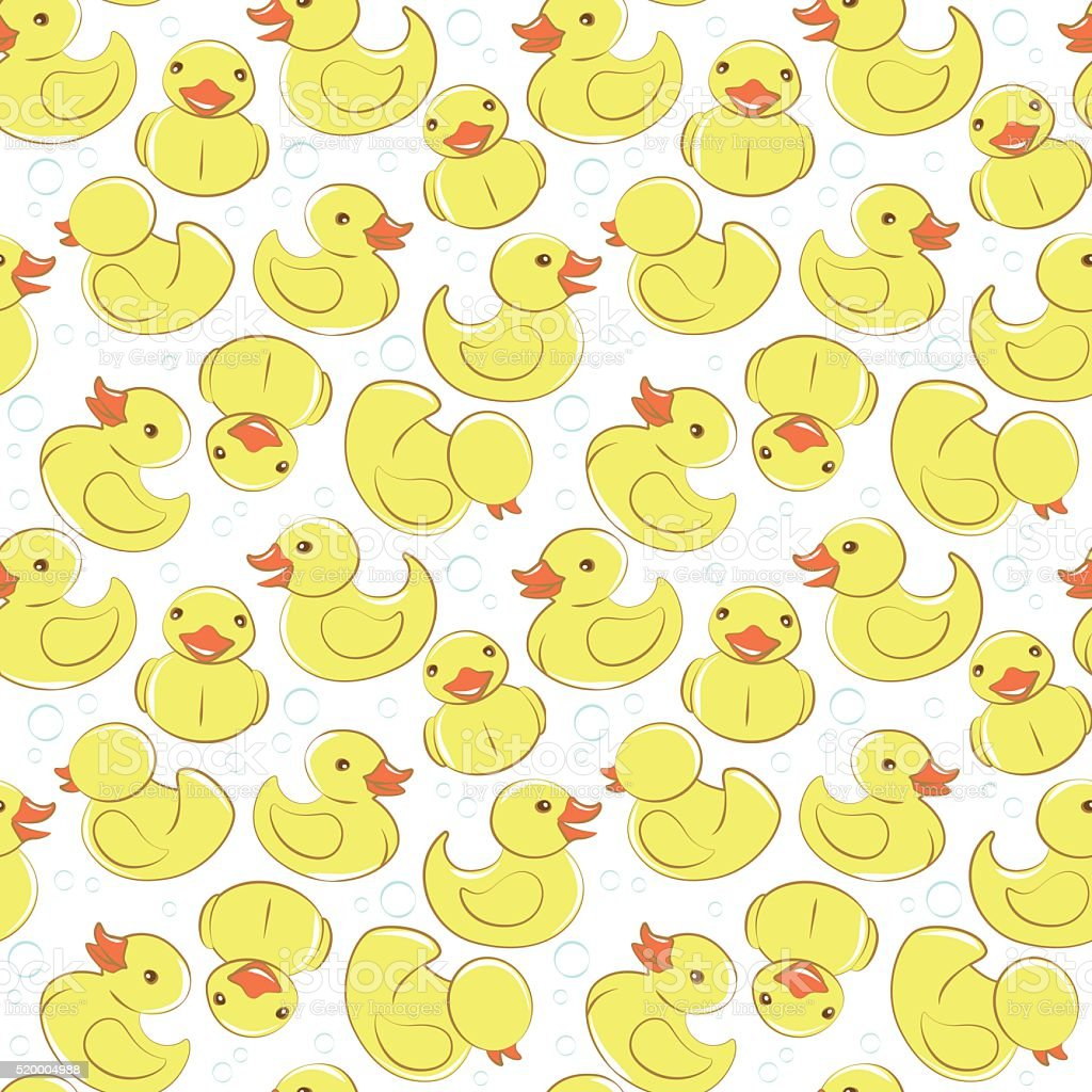 Yellow rubber duck and bubbles seamless kid's pattern vector art illustration