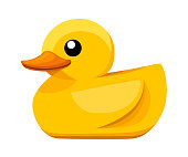Yellow rubber duck. Cartoon cute ducky for bath. Flat vector illustration isolated on white background