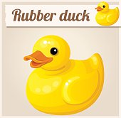 Yellow rubber duck. Cartoon vector illustration. Series of childrens toys