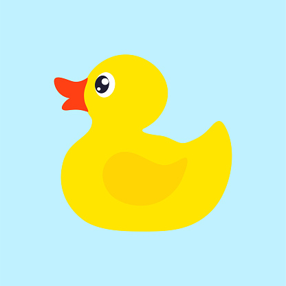 Yellow rubber duck.  Vector icon
