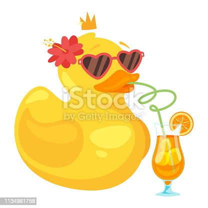 Yellow rubber duck in heart shape glasses with crown and flower drinking fresh cocktail. Summer season concept. Vector illustration.