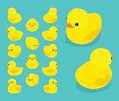 Set of the isometric yellow rubber ducks. The objects are isolated against the teal background and shown from different sides