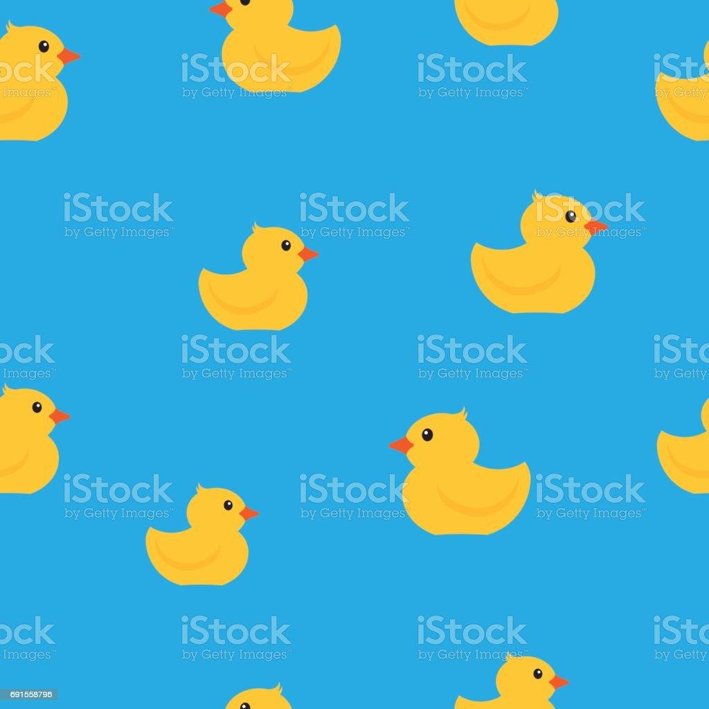 Yellow rubber ducks seamless pattern. vector art illustration