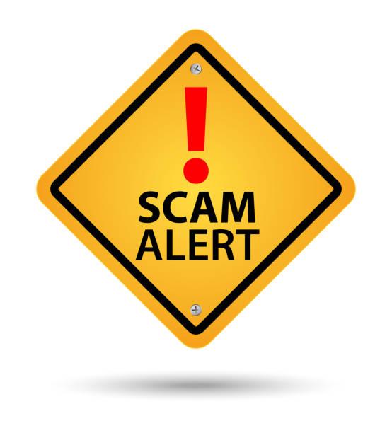 Yellow scam alert sign Yellow scam alert road sign alertness stock illustrations