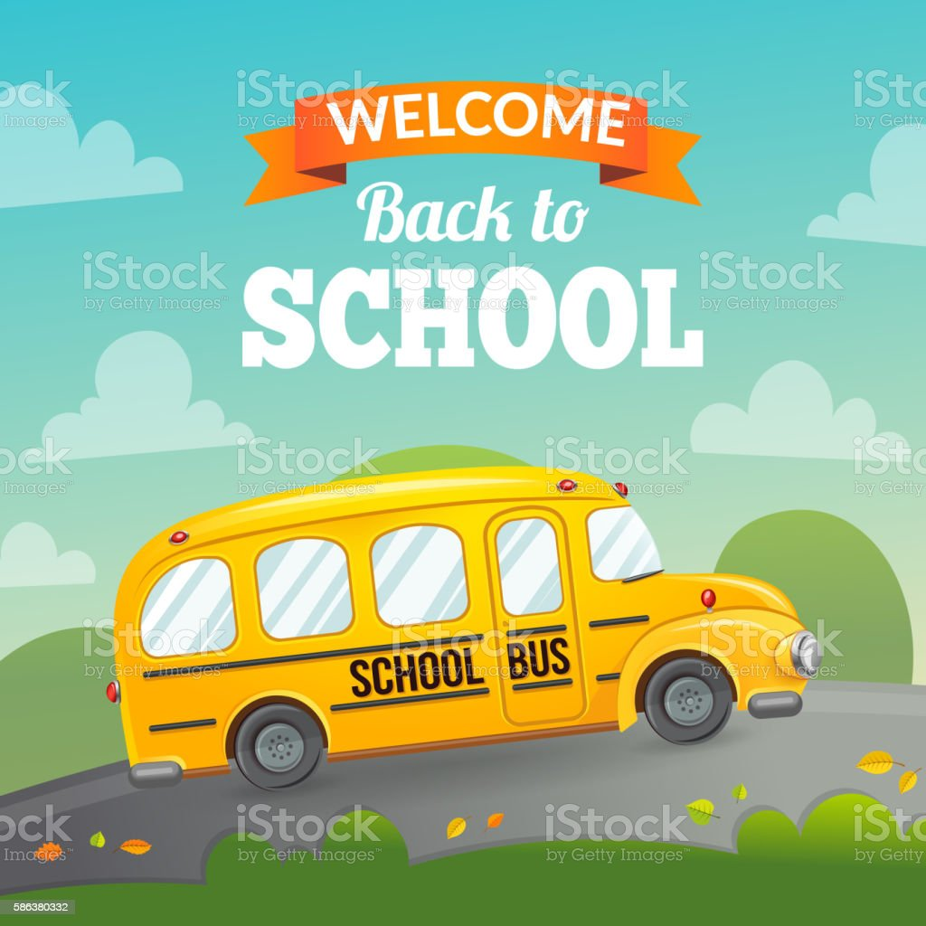 yellow school bus and text stock vector art more images of back to