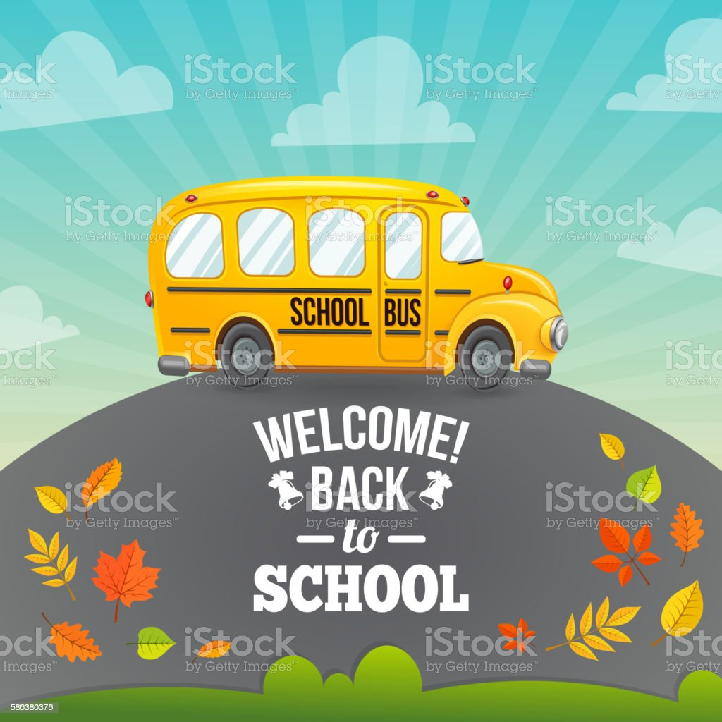 Yellow school bus and text. vector art illustration