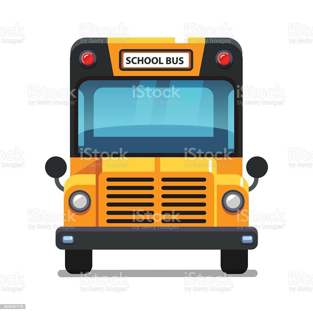 Yellow school bus front view - Illustration vectorielle