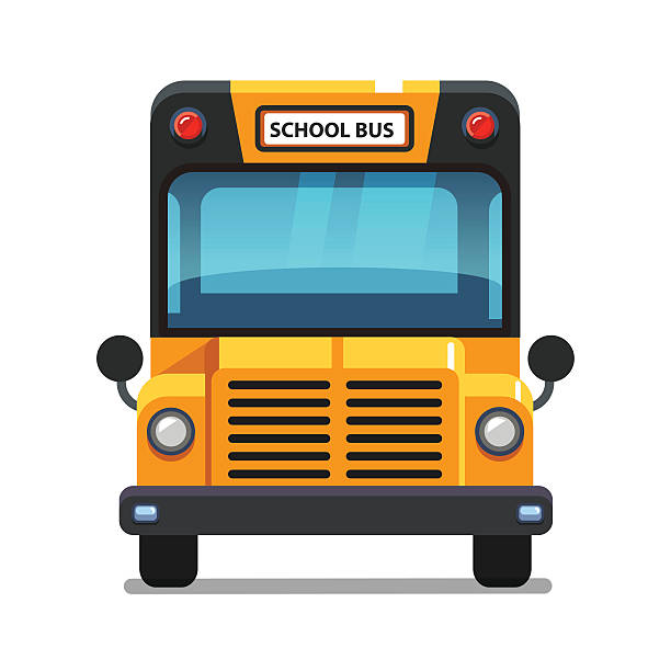 illustrations, cliparts, dessins animés et icônes de yellow school bus front view - bus scolaires