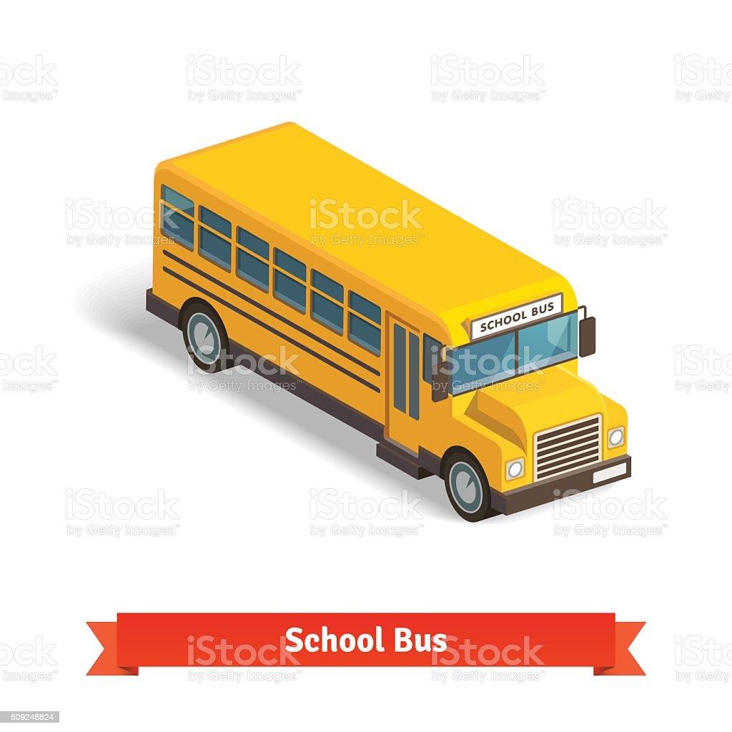黄色いスクールバスにアイソメトリック 3 D ベクターアートイラスト