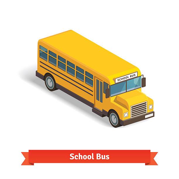 Yellow school bus in isometric 3d vector art illustration