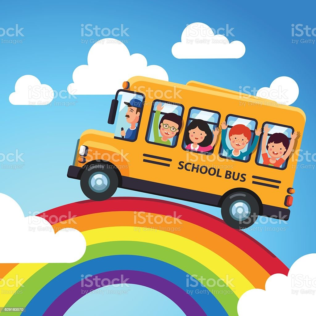 Yellow school bus with driver and kids – Vektorgrafik